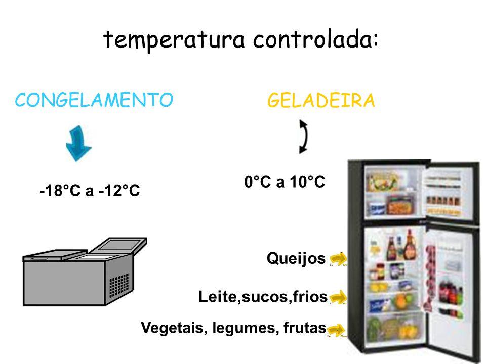 temperatura controlada: CONGELAMENTO -18°C a -12°C GELADEIRA 0°C a 10°C Queijos Leite,sucos,frios Vegetais, legumes, frutas