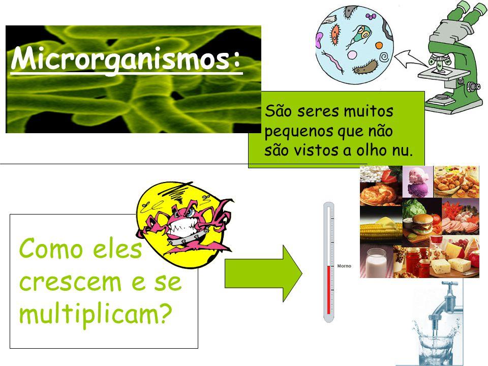 Microrganismos: São seres muitos pequenos que não são vistos a olho nu. Como eles crescem e se multiplicam?