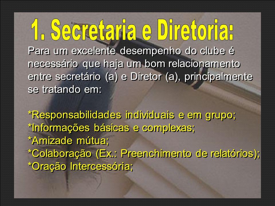 Para um excelente desempenho do clube é necessário que haja um bom relacionamento entre secretário (a) e Diretor (a), principalmente se tratando em: *
