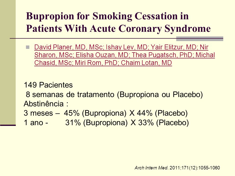 Bupropion for Smoking Cessation in Patients With Acute Coronary Syndrome David Planer, MD, MSc; Ishay Lev, MD; Yair Elitzur, MD; Nir Sharon, MSc; Elis