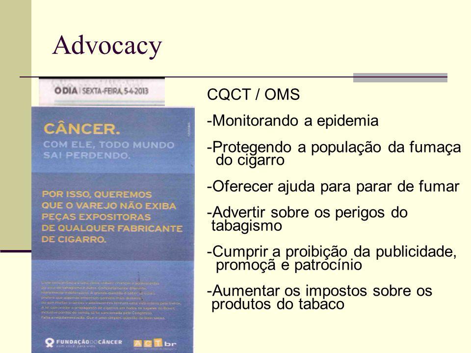 Advocacy CQCT / OMS -Monitorando a epidemia -Protegendo a população da fumaça do cigarro -Oferecer ajuda para parar de fumar -Advertir sobre os perigos do tabagismo -Cumprir a proibição da publicidade, promoçã e patrocínio -Aumentar os impostos sobre os produtos do tabaco