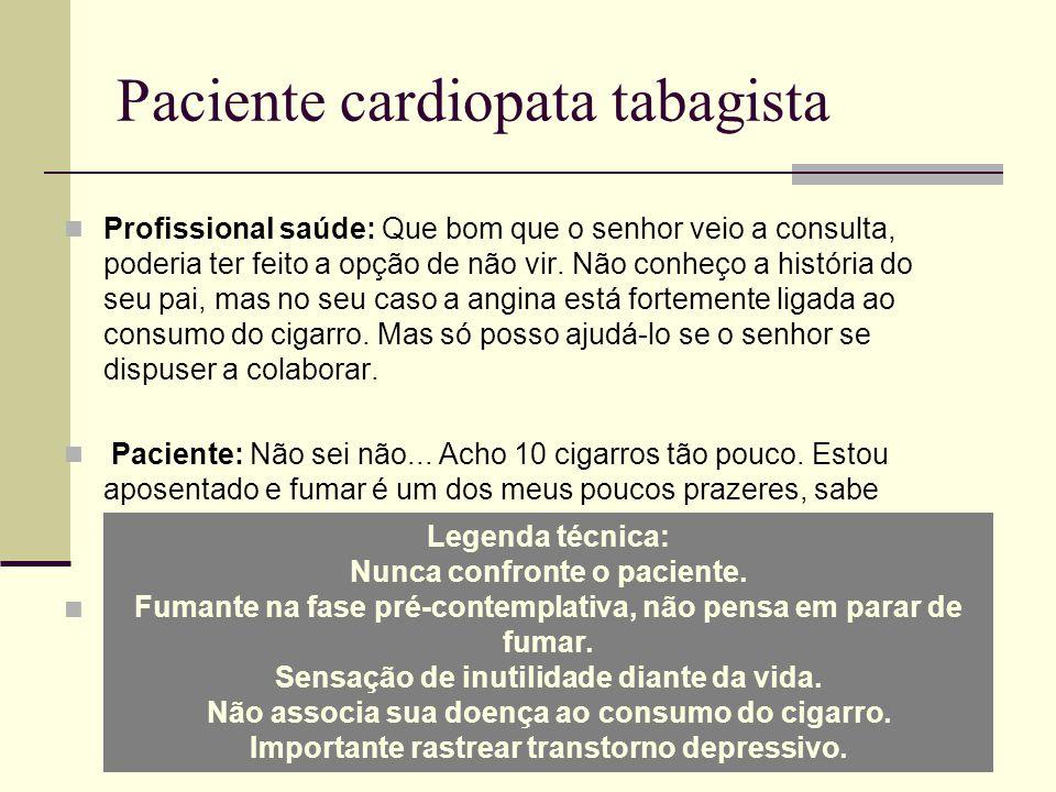 Paciente cardiopata tabagista Profissional saúde: Que bom que o senhor veio a consulta, poderia ter feito a opção de não vir.