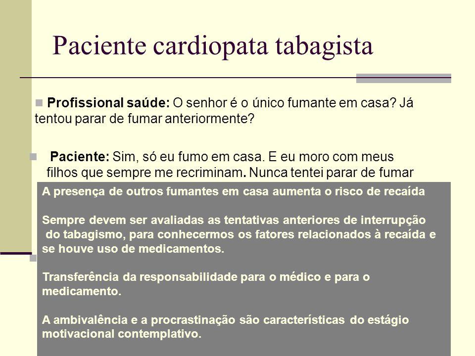 Paciente cardiopata tabagista Profissional saúde: O senhor é o único fumante em casa.