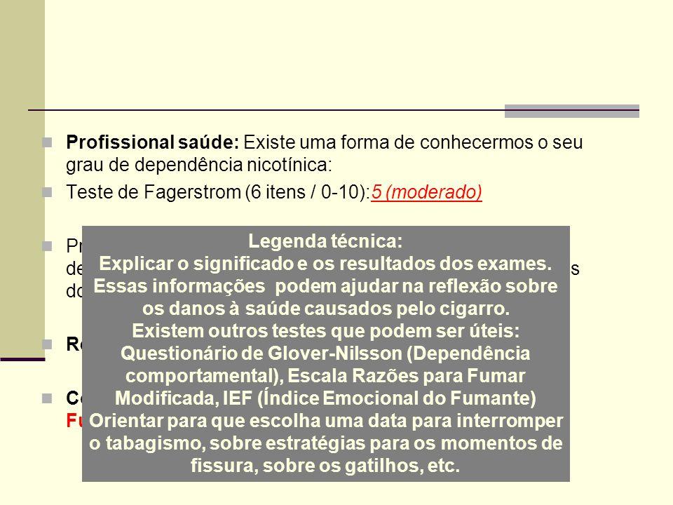 Profissional saúde: Existe uma forma de conhecermos o seu grau de dependência nicotínica: Teste de Fagerstrom (6 itens / 0-10):5 (moderado) Preciso re