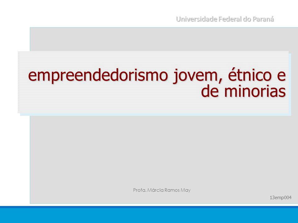 empreendedorismo jovem, étnico e de minorias Profa. Márcia Ramos May Universidade Federal do Paraná 13emp004