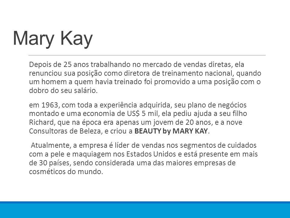 Mary Kay Depois de 25 anos trabalhando no mercado de vendas diretas, ela renunciou sua posição como diretora de treinamento nacional, quando um homem a quem havia treinado foi promovido a uma posição com o dobro do seu salário.