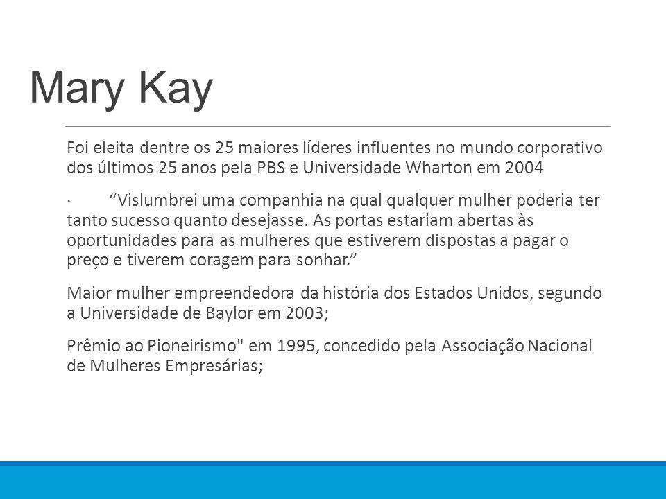 """Mary Kay Foi eleita dentre os 25 maiores líderes influentes no mundo corporativo dos últimos 25 anos pela PBS e Universidade Wharton em 2004 · """"Vislum"""