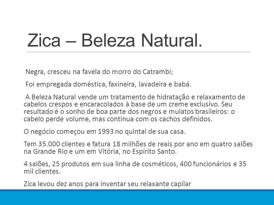 Zica – Beleza Natural. Negra, cresceu na favela do morro do Catrambi; Foi empregada doméstica, faxineira, lavadeira e babá. A Beleza Natural vende um