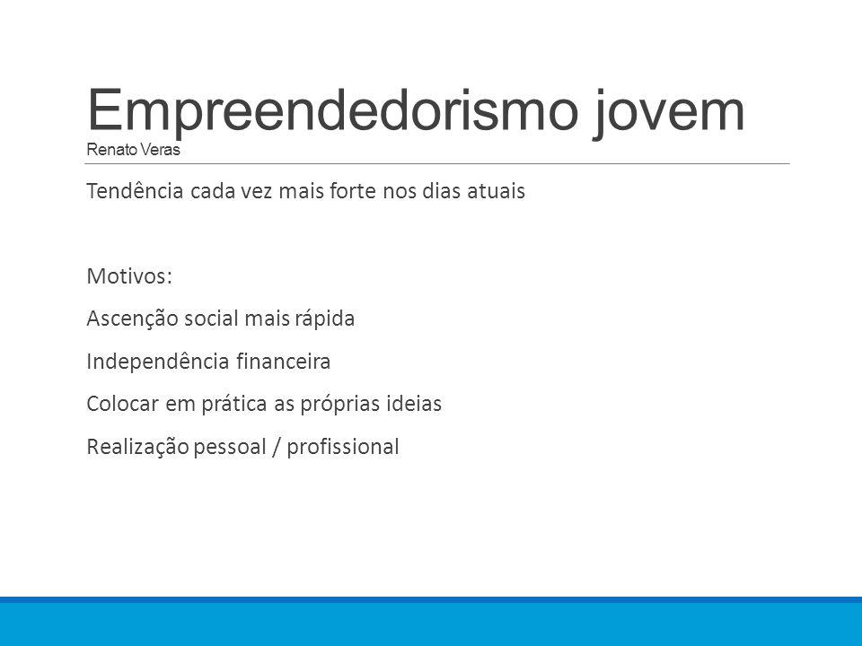 Empreendedorismo jovem Renato Veras Tendência cada vez mais forte nos dias atuais Motivos: Ascenção social mais rápida Independência financeira Colocar em prática as próprias ideias Realização pessoal / profissional