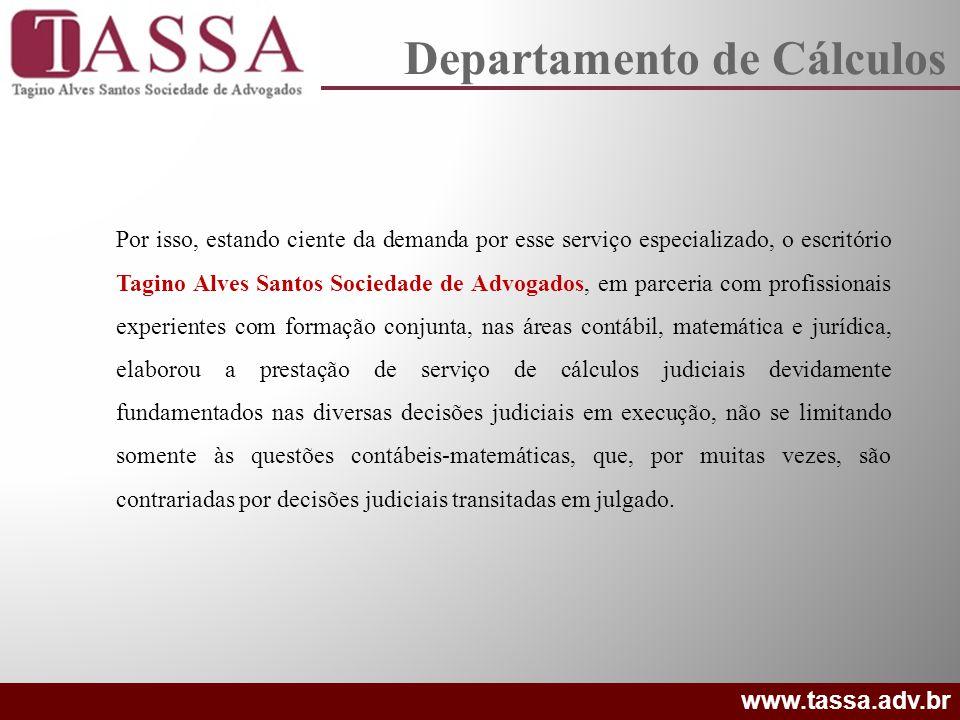 O escritório Tagino Alves Santos Sociedade de Advogados elaborou o método TASSA AFC, que consiste na Análise Fática de Caso para a proposição ou execução de qualquer ação que vise resultado financeiro- econômico sem se ater exclusivamente em teses jurídicas.
