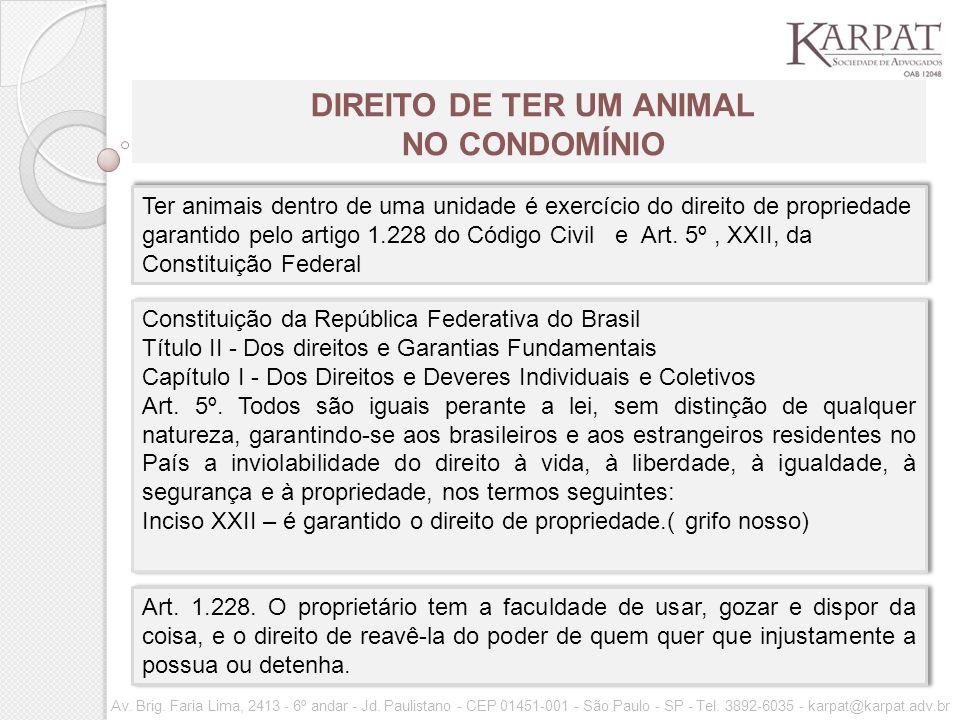 DIREITO DE TER UM ANIMAL NO CONDOMÍNIO Av.Brig. Faria Lima, 2413 - 6º andar - Jd.