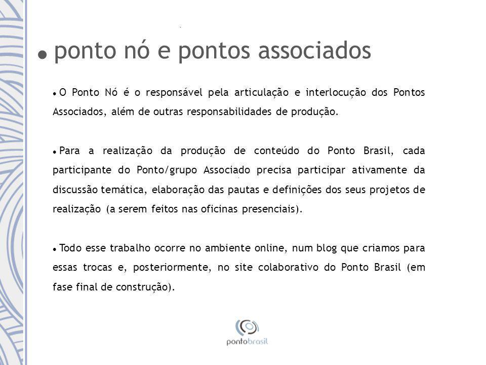 ponto nó e pontos associados O Ponto Nó é o responsável pela articulação e interlocução dos Pontos Associados, além de outras responsabilidades de produção.