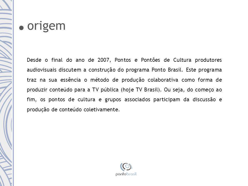 Desde o final do ano de 2007, Pontos e Pontões de Cultura produtores audiovisuais discutem a construção do programa Ponto Brasil.