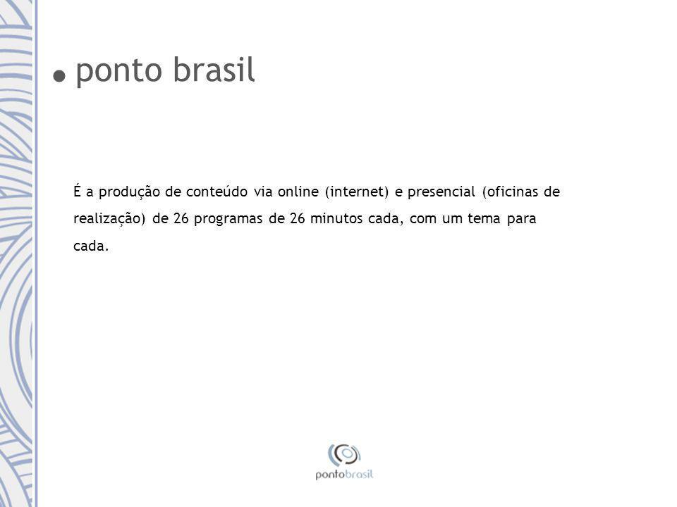 . ponto brasil É a produção de conteúdo via online (internet) e presencial (oficinas de realização) de 26 programas de 26 minutos cada, com um tema para cada.