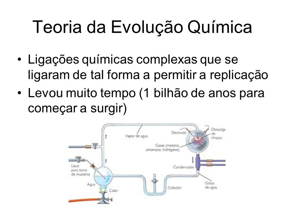 Teoria da Evolução Química Ligações químicas complexas que se ligaram de tal forma a permitir a replicação Levou muito tempo (1 bilhão de anos para começar a surgir)