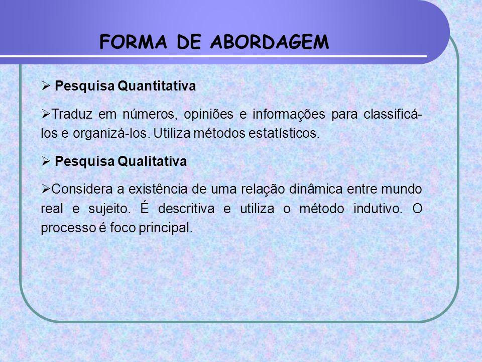 FORMA DE ABORDAGEM  Pesquisa Quantitativa  Traduz em números, opiniões e informações para classificá- los e organizá-los. Utiliza métodos estatístic