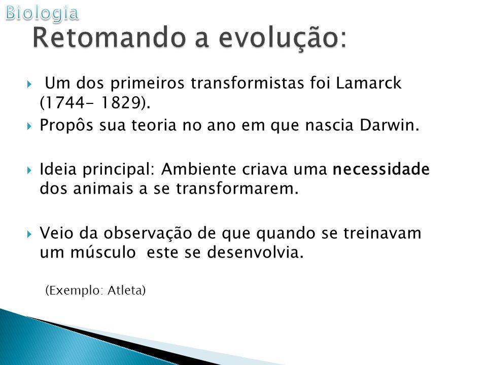 Um dos primeiros transformistas foi Lamarck (1744- 1829).