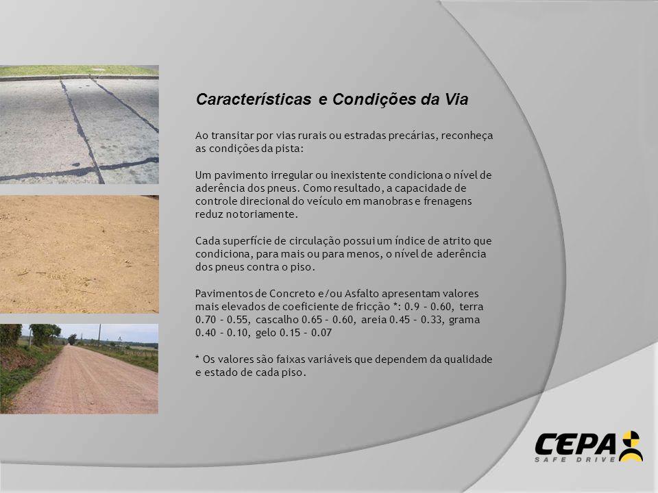 Características e Condições da Via Ao transitar por vias rurais ou estradas precárias, reconheça as condições da pista: Um pavimento irregular ou inex