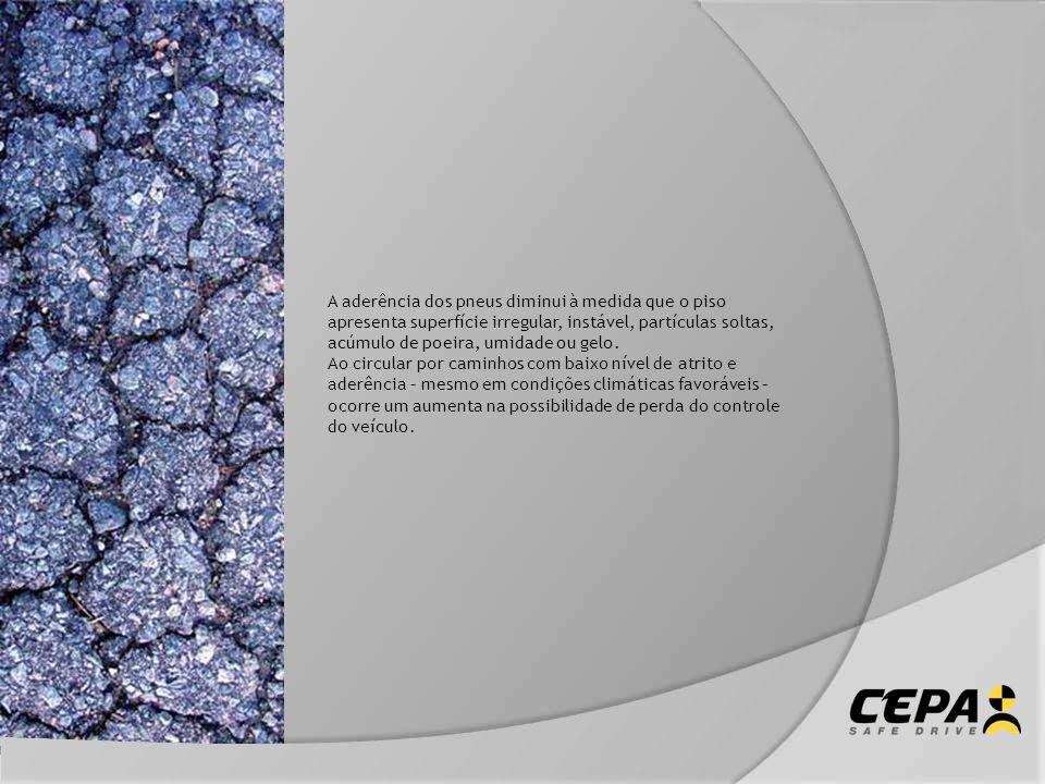 A aderência dos pneus diminui à medida que o piso apresenta superfície irregular, instável, partículas soltas, acúmulo de poeira, umidade ou gelo. Ao