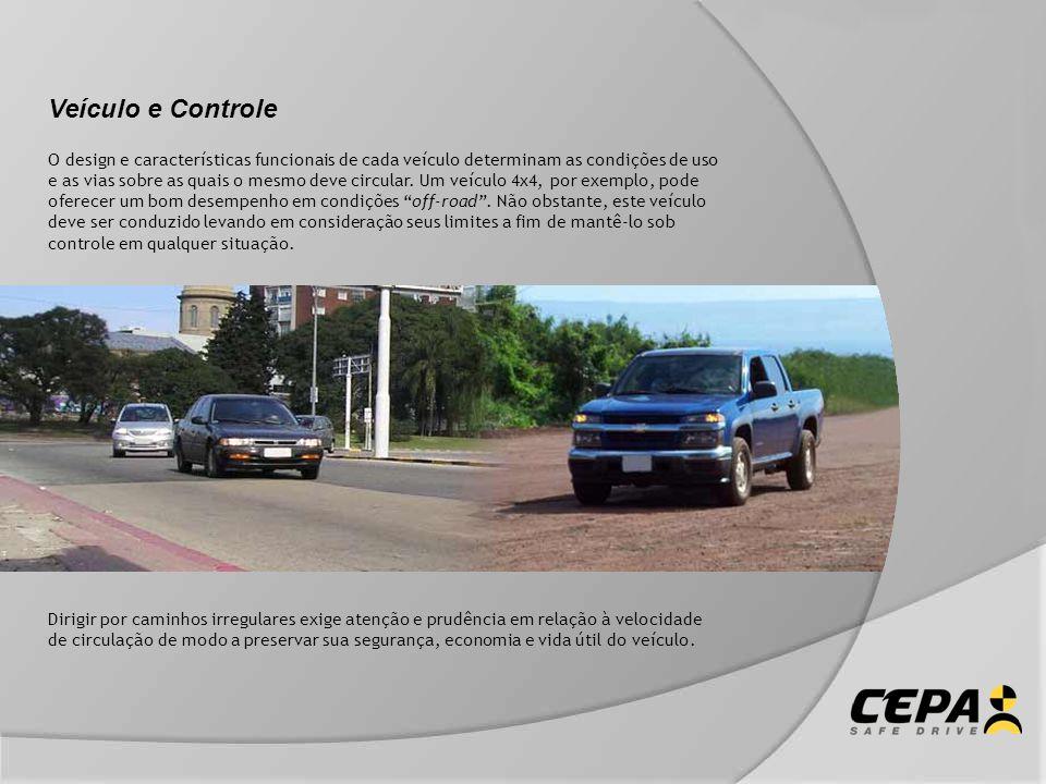Veículo e Controle O design e características funcionais de cada veículo determinam as condições de uso e as vias sobre as quais o mesmo deve circular