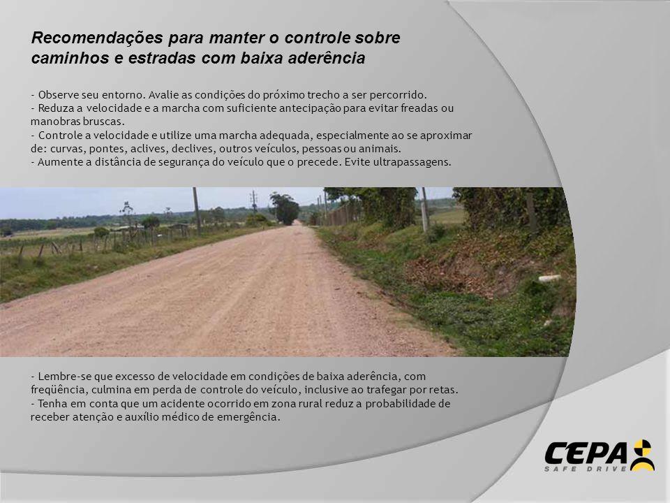 Recomendações para manter o controle sobre caminhos e estradas com baixa aderência - Observe seu entorno. Avalie as condições do próximo trecho a ser