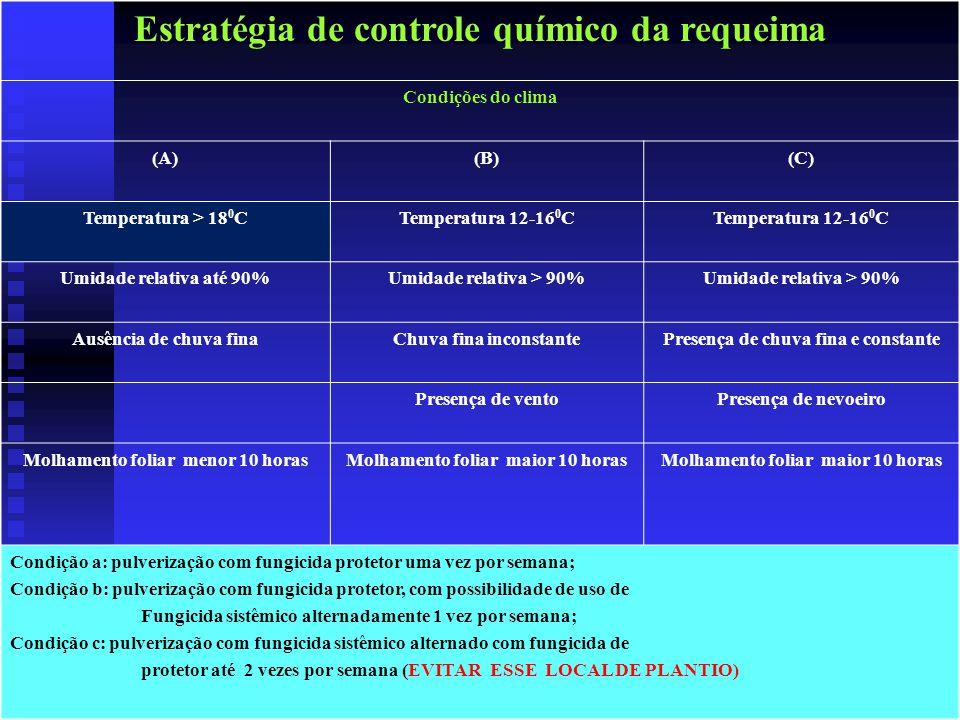 Estratégia de controle químico da requeima Condições do clima (A)(B)(C) Temperatura > 18 0 CTemperatura 12-16 0 C Umidade relativa até 90%Umidade relativa > 90% Ausência de chuva finaChuva fina inconstantePresença de chuva fina e constante Presença de ventoPresença de nevoeiro Molhamento foliar menor 10 horasMolhamento foliar maior 10 horas Condição a: pulverização com fungicida protetor uma vez por semana; Condição b: pulverização com fungicida protetor, com possibilidade de uso de Fungicida sistêmico alternadamente 1 vez por semana; Condição c: pulverização com fungicida sistêmico alternado com fungicida de protetor até 2 vezes por semana (EVITAR ESSE LOCAL DE PLANTIO)