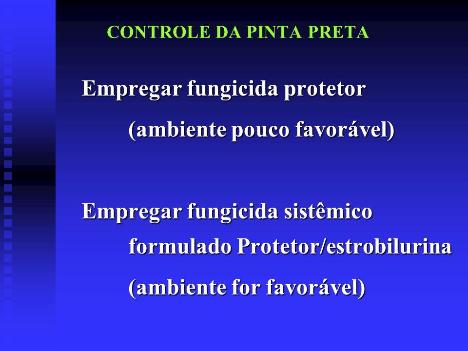 CONTROLE DA PINTA PRETA Empregar fungicida protetor (ambiente pouco favorável) Empregar fungicida sistêmico formulado Protetor/estrobilurina (ambiente for favorável)