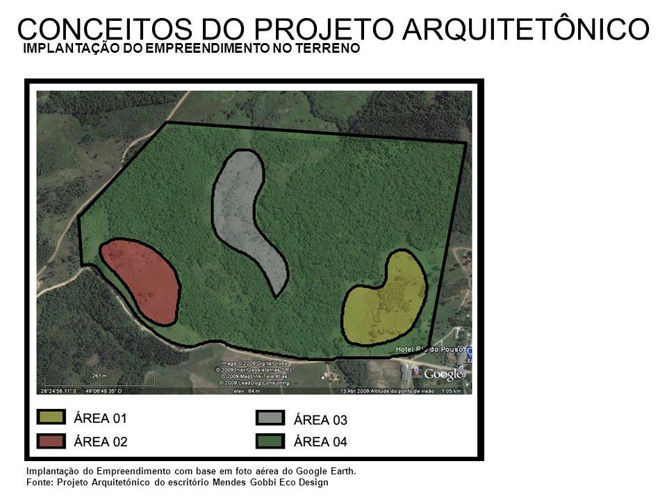 CONCEITOS DO PROJETO ARQUITETÔNICO IMPLANTAÇÃO DO EMPREENDIMENTO NO TERRENO Implantação do Empreendimento com base em foto aérea do Google Earth. Font
