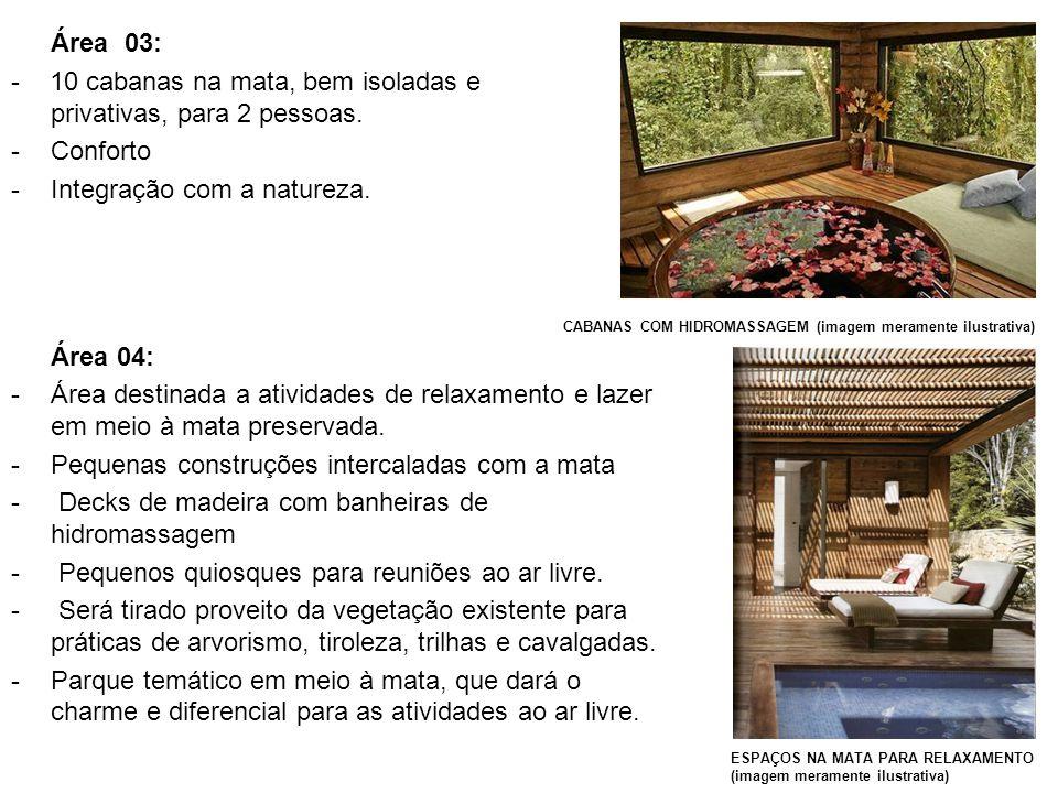 Área 03: - 10 cabanas na mata, bem isoladas e privativas, para 2 pessoas. -Conforto -Integração com a natureza. CABANAS COM HIDROMASSAGEM (imagem mera