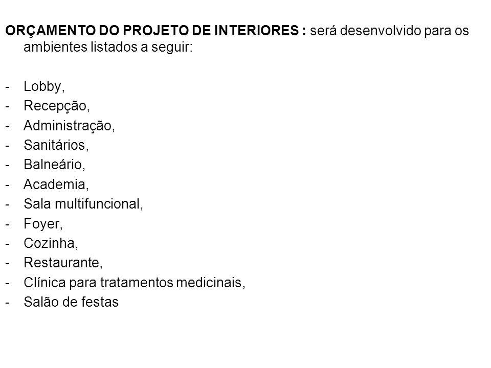 ORÇAMENTO DO PROJETO DE INTERIORES : será desenvolvido para os ambientes listados a seguir: -Lobby, -Recepção, -Administração, -Sanitários, -Balneário