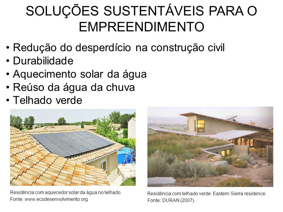Redução do desperdício na construção civil Durabilidade Aquecimento solar da água Reúso da água da chuva Telhado verde Residência com aquecedor solar