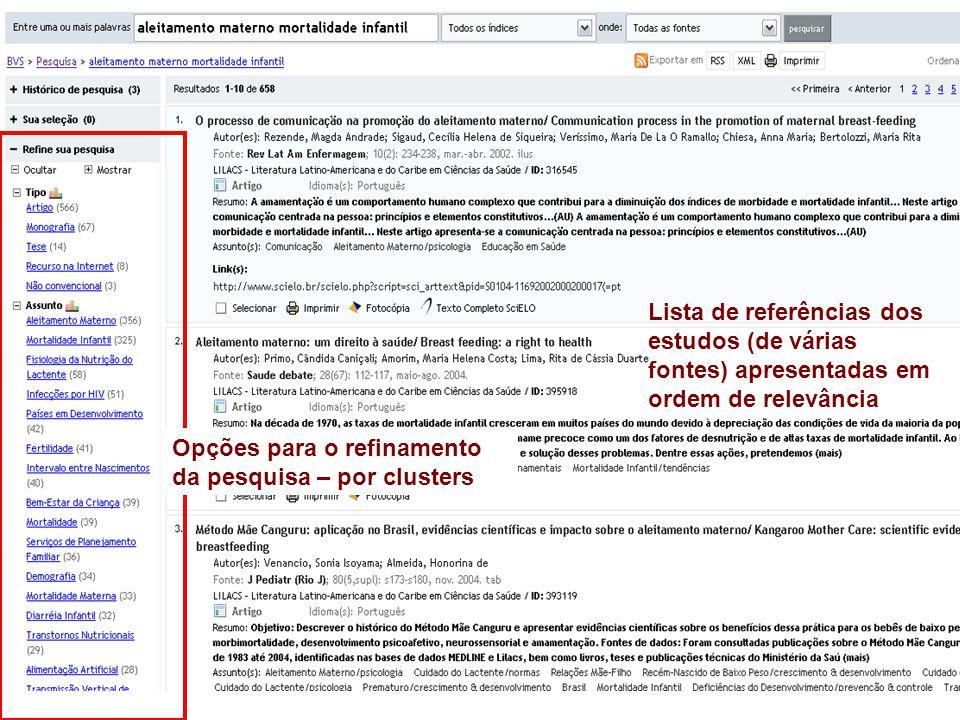 Lista de referências dos estudos (de várias fontes) apresentadas em ordem de relevância Opções para o refinamento da pesquisa – por clusters