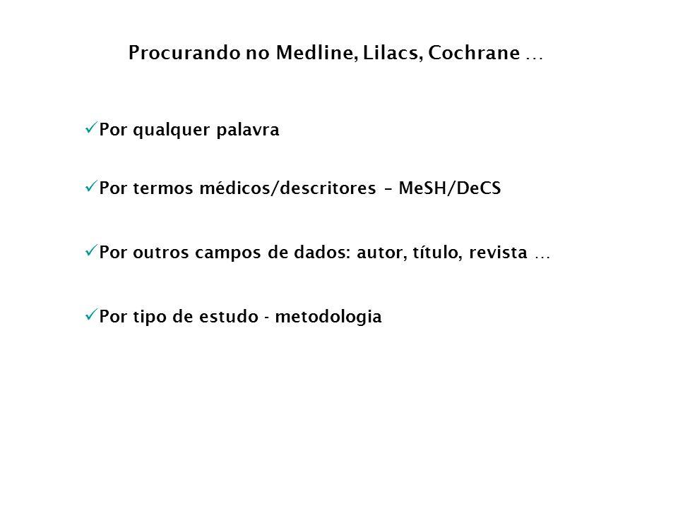 Por qualquer palavra Por termos médicos/descritores – MeSH/DeCS Procurando no Medline, Lilacs, Cochrane … Por outros campos de dados: autor, título, r