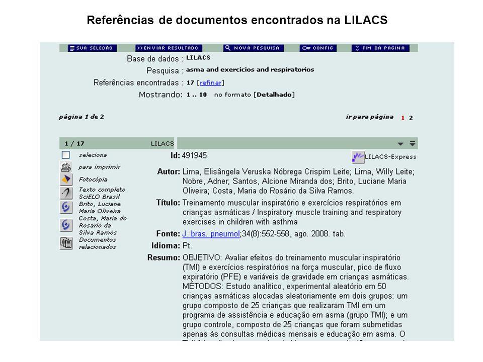 Referências de documentos encontrados na LILACS