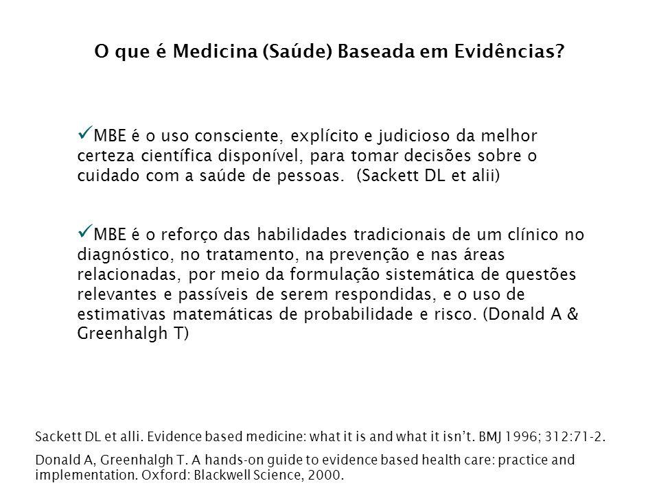 Abordagem Baseada em Evidências Todos os tipos de questões relacionadas aos pacientes ou grupos de pacientes (população) levarão...