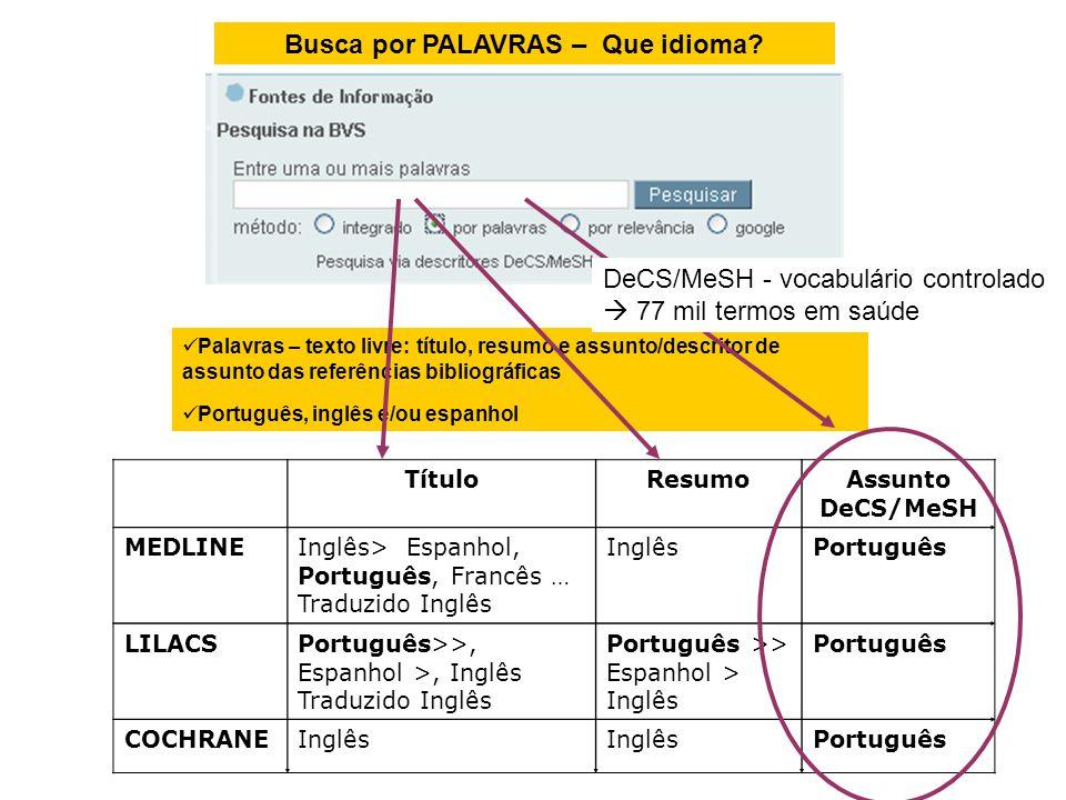 Busca por PALAVRAS – Que idioma? Palavras – texto livre: título, resumo e assunto/descritor de assunto das referências bibliográficas Português, inglê