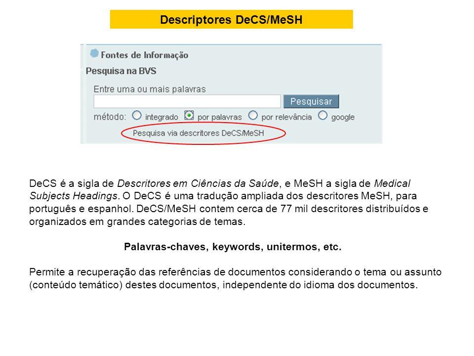 Descriptores DeCS/MeSH DeCS é a sigla de Descritores em Ciências da Saúde, e MeSH a sigla de Medical Subjects Headings. O DeCS é uma tradução ampliada