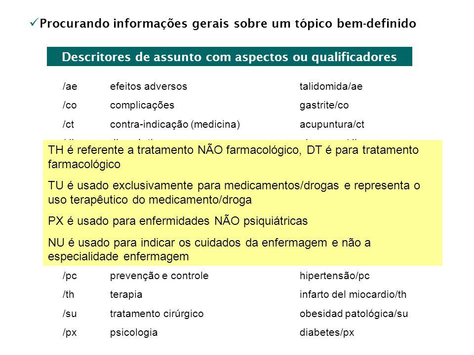 Procurando informações gerais sobre um tópico bem-definido Descritores de assunto com aspectos ou qualificadores /aeefeitos adversostalidomida/ae /coc