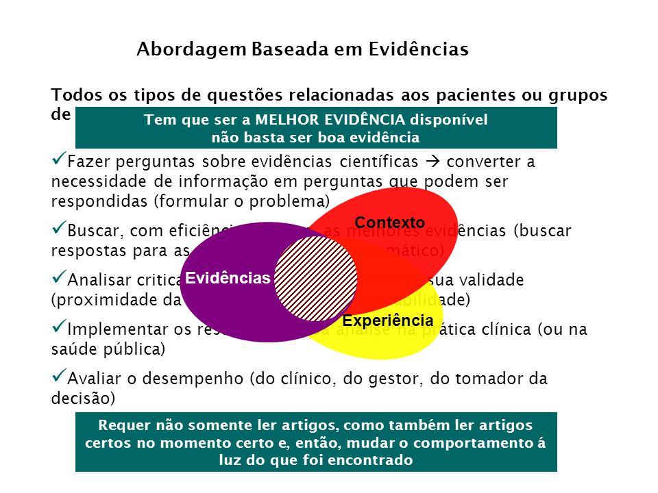 Abordagem Baseada em Evidências Todos os tipos de questões relacionadas aos pacientes ou grupos de pacientes (população) levarão... Fazer perguntas so