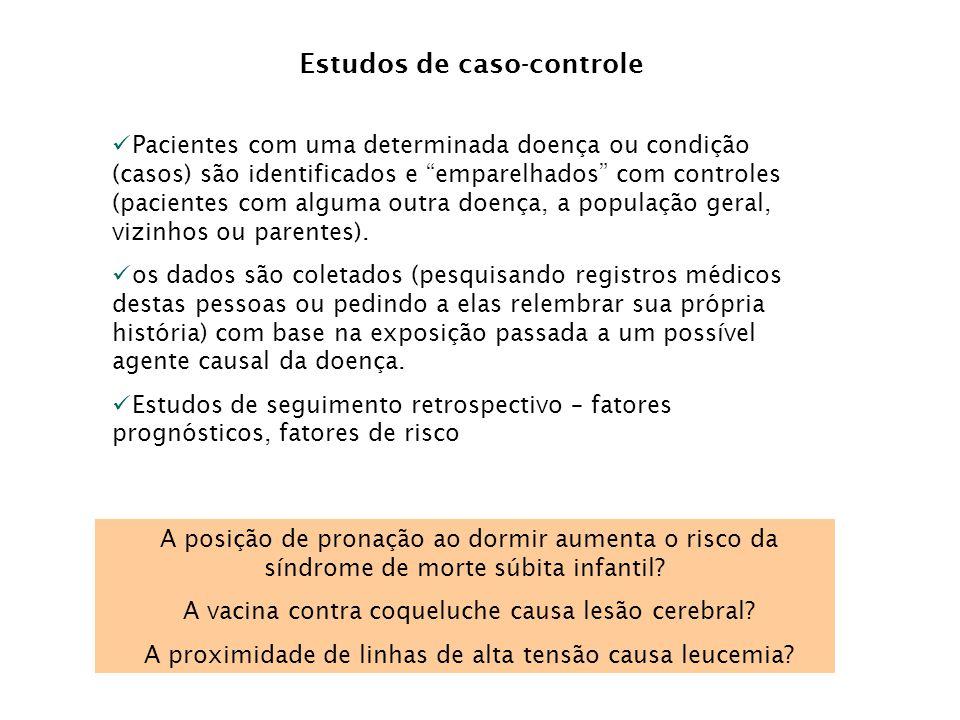 """Estudos de caso-controle Pacientes com uma determinada doença ou condição (casos) são identificados e """"emparelhados"""" com controles (pacientes com algu"""