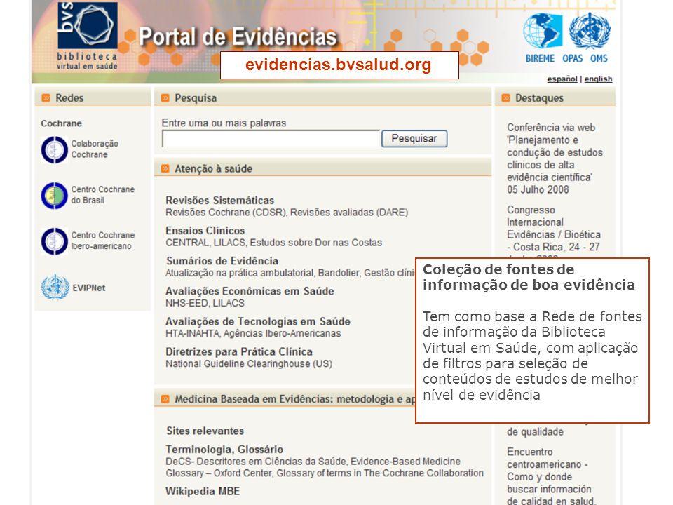 Coleção de fontes de informação de boa evidência Tem como base a Rede de fontes de informação da Biblioteca Virtual em Saúde, com aplicação de filtros