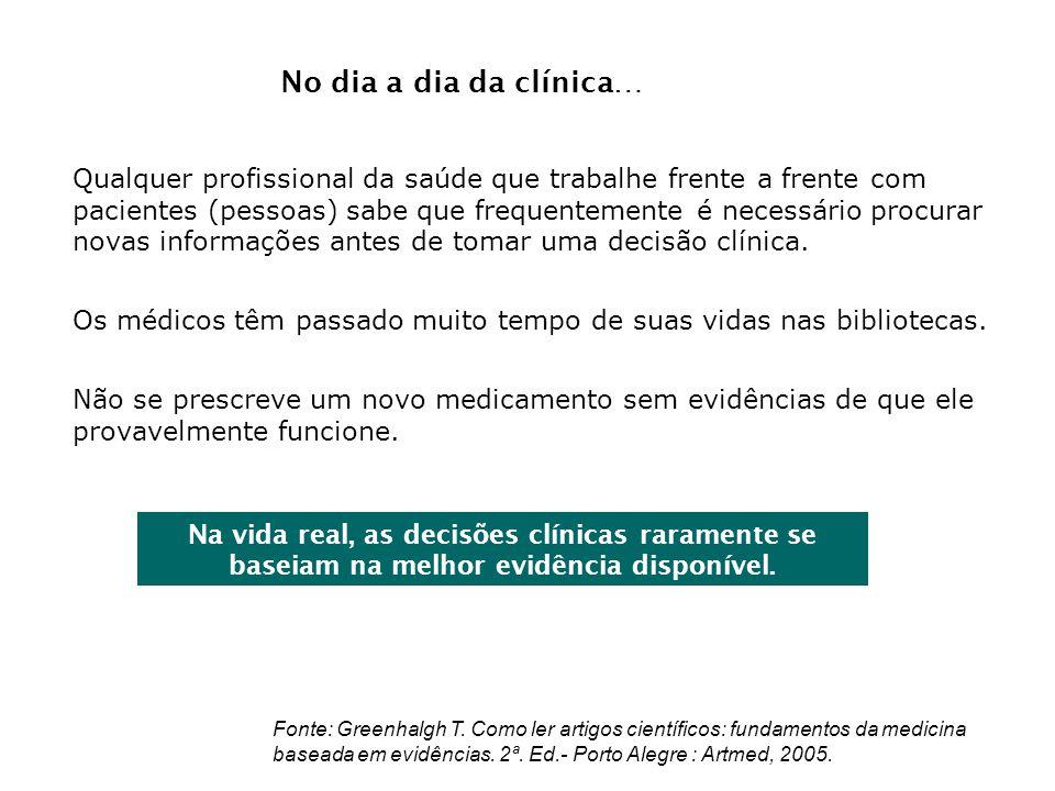 Na vida real, as decisões clínicas raramente se baseiam na melhor evidência disponível. Qualquer profissional da saúde que trabalhe frente a frente co