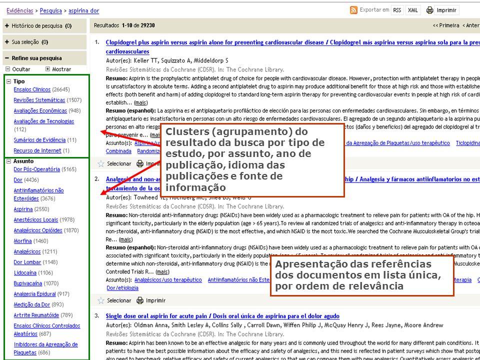Apresentação das referências dos documentos em lista única, por ordem de relevância Clusters (agrupamento) do resultado da busca por tipo de estudo, p