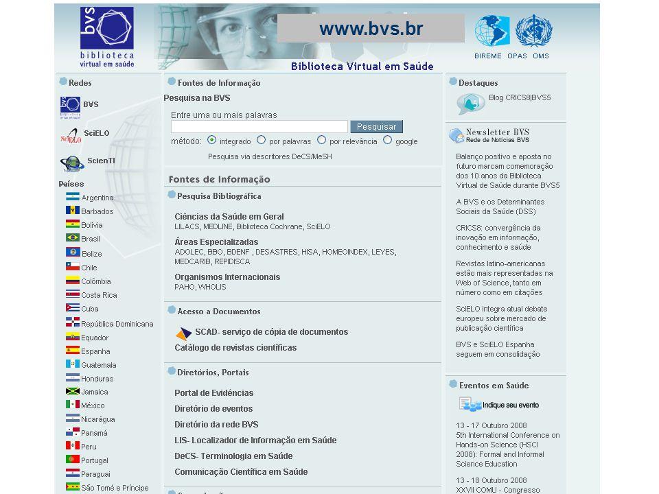 Coleção de fontes de informação Destaques, notícias, eventos Área de pesquisa na maioria das fontes de informação da BVS Rede BVS: Portais nacionais e temáticos