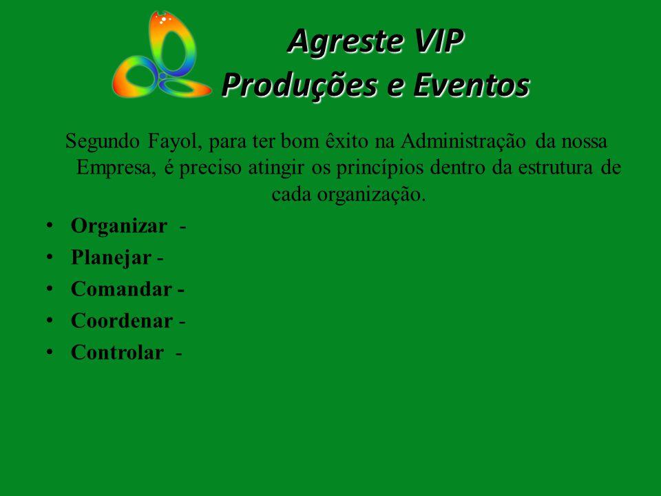 Agreste VIP Produções e Eventos Segundo Fayol, para ter bom êxito na Administração da nossa Empresa, é preciso atingir os princípios dentro da estrutu
