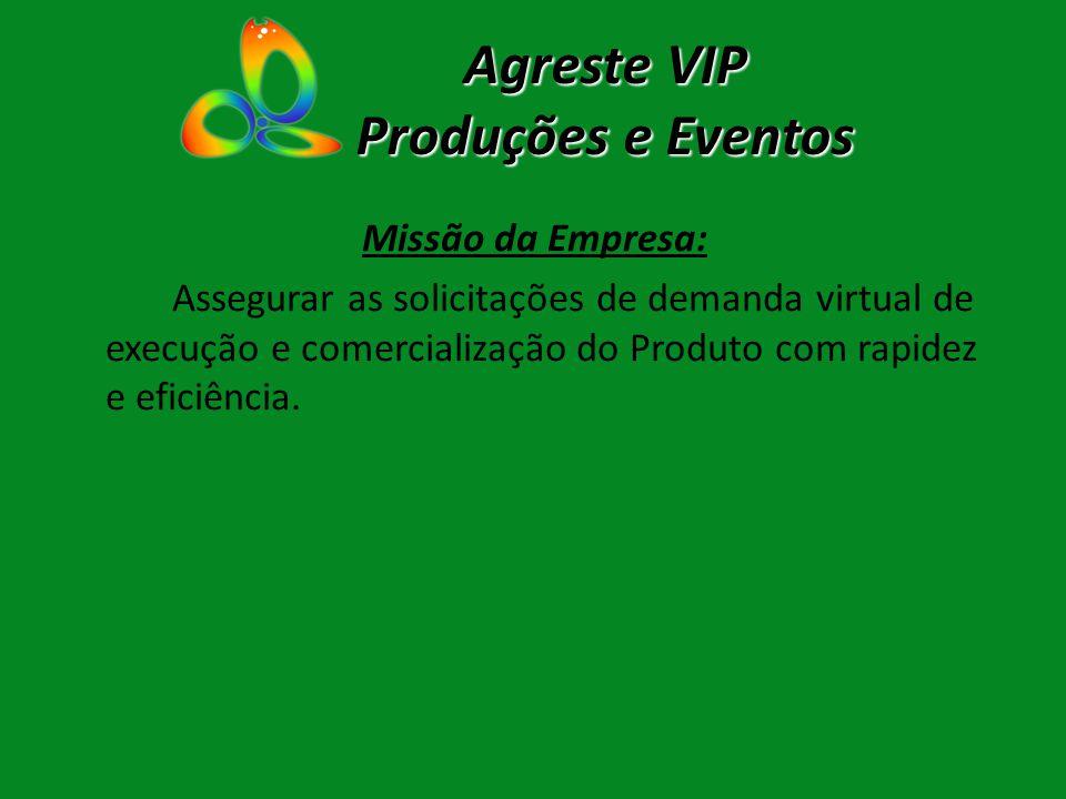 Agreste VIP Produções e Eventos Missão da Empresa: Assegurar as solicitações de demanda virtual de execução e comercialização do Produto com rapidez e