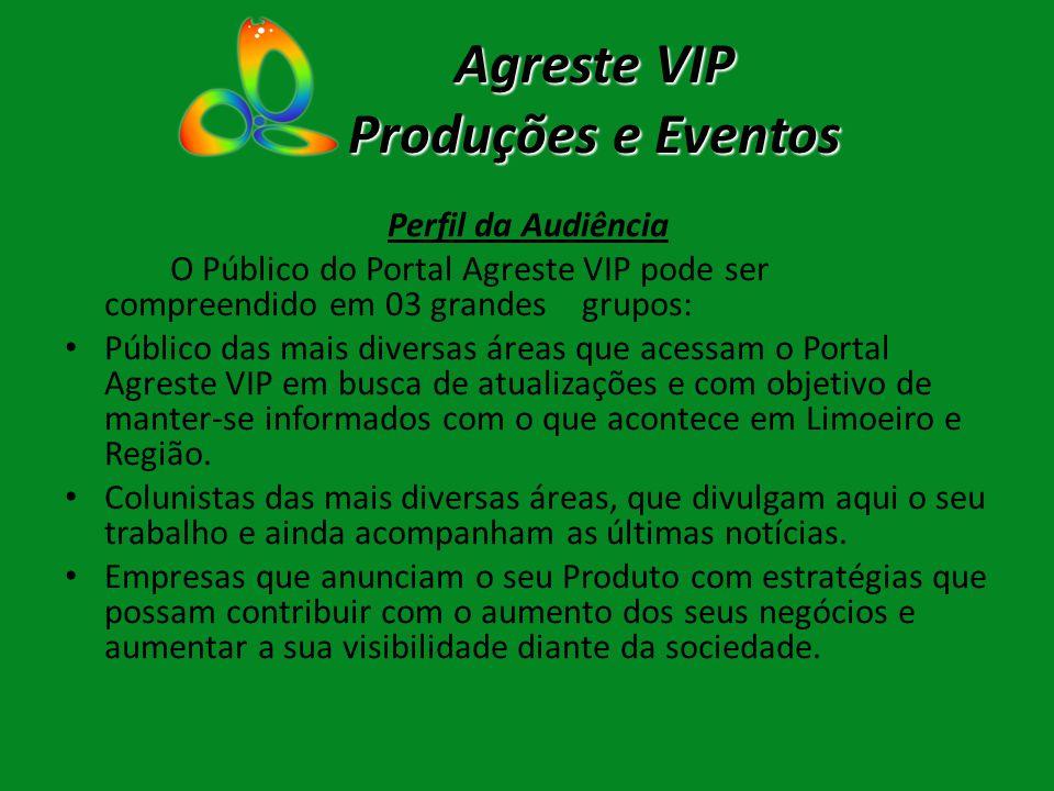 Agreste VIP Produções e Eventos Perfil da Audiência O Público do Portal Agreste VIP pode ser compreendido em 03 grandes grupos: Público das mais diver