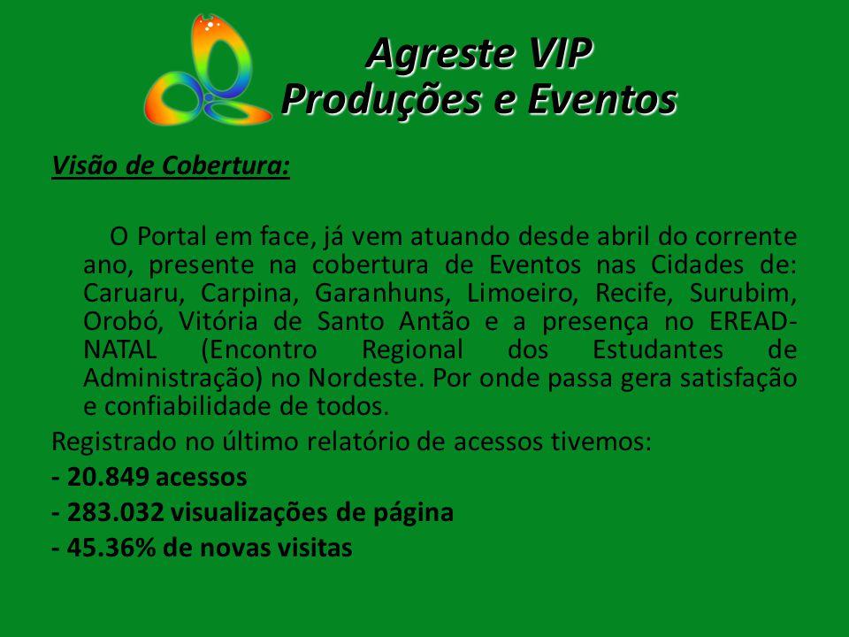 Visão de Cobertura: O Portal em face, já vem atuando desde abril do corrente ano, presente na cobertura de Eventos nas Cidades de: Caruaru, Carpina, G