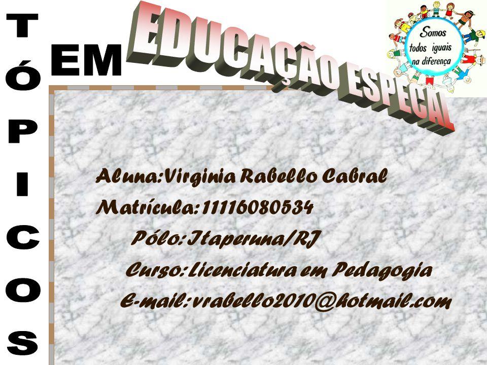 Aluna: Virginia Rabello Cabral Matrícula: 11116080534 Pólo: Itaperuna/RJ Curso: Licenciatura em Pedagogia E-mail: vrabello2010@hotmail.com