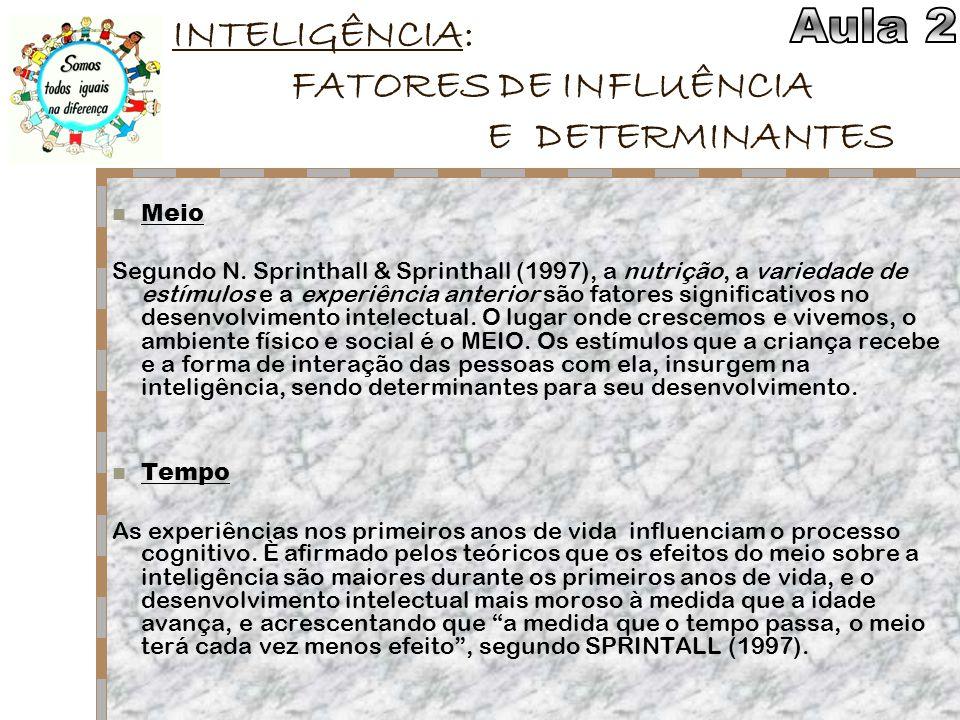 INTELIGÊNCIA: FATORES DE INFLUÊNCIA E DETERMINANTES Meio Segundo N. Sprinthall & Sprinthall (1997), a nutrição, a variedade de estímulos e a experiênc
